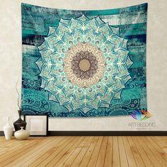 Mandala Tapestry, Boho floral mandala tapestry wall hanging, bohemian decor, bohochic vintage mandala decor