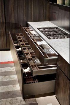 Kitchen design | storage | LED strip lighting | dark tones | kitchen cupboards & draws