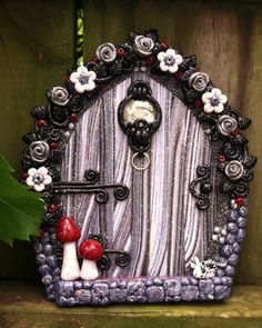 Midnight Garden Fairy Door pixie portal in polymer clay by pinkchihuahuacrafts