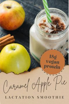 Our Apple Pie Lactation Shake recipe gives breastfeeding moms a sweet autumn treat packed with whole-food galactagogues and 18g vegan protein. The flavors are definitely autumn inspired, however these ingredients can be found easily year-round, so you can whip up this recipe any time you need a breastfeeding and energy boost! And at less than $2 per serving, Milk Drunk protein powder is an affordable way to pack in the nutrition nursing and pumping moms need each day. Shake Recipes, Milk Recipes, Whole Food Recipes, Yummy Smoothies, Smoothie Recipes, Lactation Smoothie, Breastfeeding Foods, Fall Treats, Vegan Protein