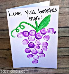 """""""Love You Bunches"""" Kids Thumbprint Grapes Card - Sassy Dealz"""