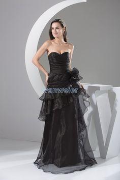 Sweetheart Floor Length Organza Sheath Black Evening Dress With Cascading Ruffles(ZJ6258)