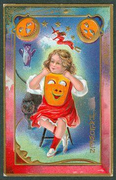 Vintage Embossed Nash Halloween Postcard Girl Sitting in Chair Holding JOL Mask | eBay