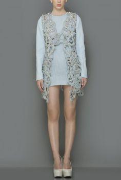 Whirl Sky Blue cutwork denim jacket with 3D braid, cod and pearl work