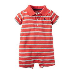 jcp | Carter's® Short-Sleeve Striped Romper - Baby Boys newborn-24m