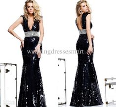 Wholesale 2014 Black Mermaid Pageant Dresses Shiny Sequined Deep V-neck Crystals Floor Length Formal Women Prom Evening Gowns Cheap Custom Made Hot, Free shipping, $179.99/Piece | DHgate