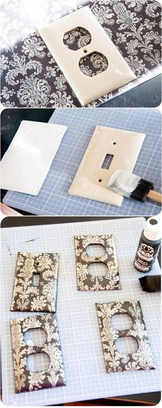 DIY :: Decorated with Scrapbook Papers - Light Switch and Outlet Covers ( http://www.housewivesofriverton.com/2011/10/covered-light-switch-outlet-plates.html ):
