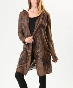 Look what I found on #zulily! Brown & White Floral Embroidered Hooded Cardigan - Women #zulilyfinds