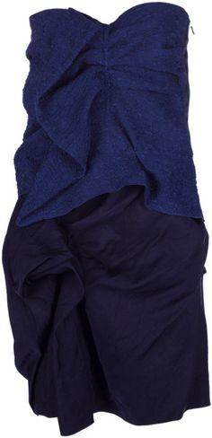 Lanvin Vintage Runched Dress in Blue - Lyst