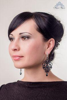Boucles d'oreilles dentelle de frivolité Cleopatra par MadamKruje