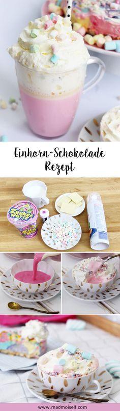 Heiße Einhorn-Schokolade in pink selber machen – Super einfaches Party Rezept!