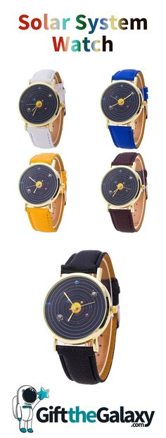Carry the Solar System with you with our exclusive Solar System Watch collection! These are available in 5 different color bands and are super affordable! This Astronomical Watch Accurately Shows The Solar System's Orbits Around The Sun | This is hands-down one of the most creative watches you'll ever see! Found on GiftTheGalaxy.com! Solar System Watch, Astronomical Watch, Space Jewelry, Space And Astronomy, Best Gifts, Bands, Sun, Jewellery, Watches