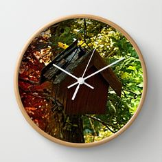 Abandoned old bird box in the forest Wall Clock