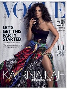 Katrina Kaif demands your attention. Katrina rocked curls and a plunging neckline on the cover of Vogue India. Vogue Magazine Covers, Vogue Covers, Bollywood Actors, Bollywood Celebrities, Celebrities Fashion, Green Fashion, New Fashion, High Fashion, Tapas