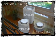 Posts about Cement Crafts written by Nikitaland Tea Light Candles, Tea Lights, Concrete Crafts, Tealight Candle Holders, Bath Salts, Tea Light Holder, Craft Projects, Craft Ideas, Fun Crafts