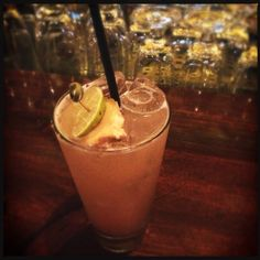 """Ginja Ninja""  Bombay Saphire, Muddled Ginger, Cloudy Apple Juice, Lemon Juice & a drizzle of Chambord"