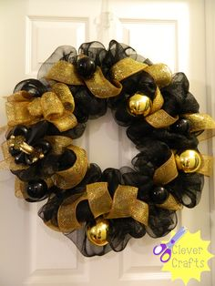 black and gold / Saints wreath. Check us out on facebook: Clever Crafts