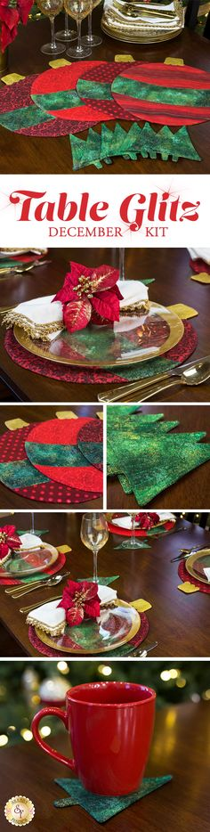 Add the perfect touch of sparkle to your home with the Table Glitz series! We will release a unique placemat and coaster set for each month of the year.  Each kit will be released the month prior so you can make it and display it! These delightful placemat and coaster sets are designed, and only available, right here at Shabby Fabrics!