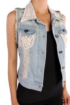 Embellished Denim Vest