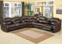 AC Pacific Samara 3 Piece Bonded Leather Reclining Sectional Set