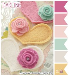 Felt hearts with roses.Embellish a card or bookmark with these or make into lovely headbands or barrettes for little girls. Fabric Crafts, Sewing Crafts, Sewing Projects, Diy Crafts, Felt Headband, Headbands, Felt Hair Clips, Barrettes, Hairbows