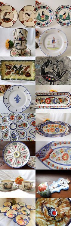 Henriot HB Quimper Pottery, Antique and Vintage Treasures from France by VintageFindsFrance on Etsy #french #vintageHB #vintagefinds #quimperfrance #quimper #brocante #vintagefindsfrance #frenchfleamarket