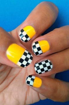 Create your own Taxi Theme nails by mix & matching #Jamberry Nails. http://kfed.jamberrynails.net