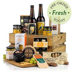 £70.00 - There's no better way to whet your appetite than a slatted wooden crate crammed with West Country fayre. How about a generous wedge of Godminster handmade organic brie with black pepper and a handful of Moores barley oat crumble biscuits with hazelnuts? Or perhaps you'll enjoy nibbling on the wonderful sounding Olives et Al sunshine rosemary garlic olives or sweet chilli harissa almonds?