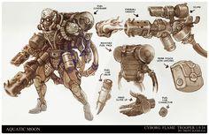 ArtStation - Cyborg Flame Trooper, Trent Kaniuga - Aquatic Moon