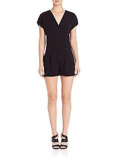 Diane von Furstenberg Emerson Crepe Short Jumpsuit - Black - Size 8