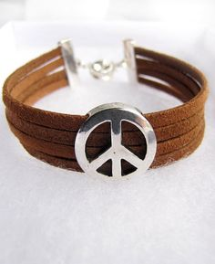 Silver Peace Bracelet on Brown Suede Leather. $24.00, via Etsy.