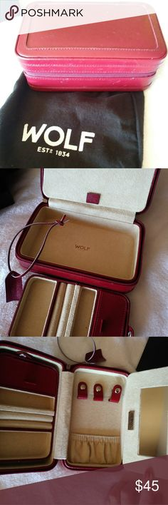 🎄WOLF Red Leather Travel Jewelry Case w/Lusterloc NIB Red Leather travel jewelry case with warranty and Lusterloc guarantee. WOLF brand. Jewelry