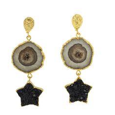 Black Independent Designers Statement Earrings, Gold Earrings, Drop Earrings, Semi Precious Gemstones, Precious Metals, African American Clothing, Quartz Stone, Agate Stone, Black Star