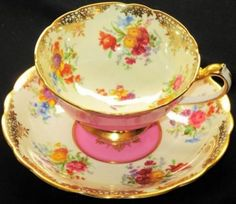 Paragon Chintz GOLD Wide Pink  Tea cup and saucer