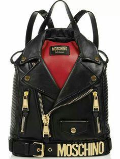 Moschino Biker Jacket Shoulder Bags by Jeremy Scott Black Backpack, Backpack Bags, Leather Backpack, Rucksack Bag, Grunge Backpack, Studded Backpack, Fashion Bags, Fashion Backpack, Fashion Moda