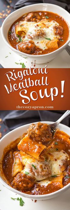 Meatball Soup Recipe : Rich and hearty, this comforting rigatoni meatball soup is a fun take on one of our favorite pasta dishes, complete with creamy mozzarella cheese. Soup Recipes, Dinner Recipes, Cooking Recipes, Cheese Recipes, Meatball Soup, Albondigas, Soup And Sandwich, Pasta Dishes, Pasta Food