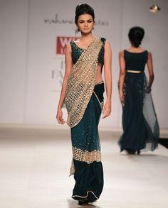 Peacock Green Sari- Buy Saris,Rabani & Rakha Wills AW'14,Rabani & Rakha Online | Exclusively.in