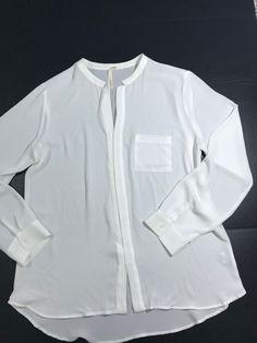 c322fb787321bf Bellatrix Women s Sheer Blouse Button Down Long Sleeve Ivory Size Large   1049