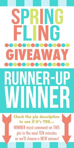 And the runner-up winner is... {drum roll please}... BETH BOWE! {She commented on the pin buried below... we are just repining this pin so those of you who didn't see this will know who the runner-up was. XOXO