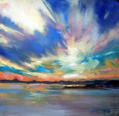 Colorburst Sky -sunset oil painting, painting by artist Mary Maxam