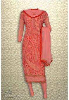 Elegant dark pink suit adorn in all over thread work