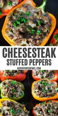 How to make the best Philly cheesesteak stuffed peppers, ground beef style. Easy to prep recipe for a delicious, family-friendly dinner! #phillycheesesteak #stuffedpeppers #dinnertime #bellpeppers #groundbeef #dinnerideas Beef Recipes For Dinner, Delicious Dinner Recipes, Entree Recipes, Real Food Recipes, Healthy Recipes, Shrimp Recipes, Delicious Food, Keto Recipes, Stuffed Peppers Ground Beef