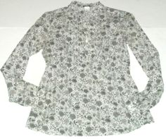 J. Crew Top Shirt Blouse Pintuck Ruffle Black White Floral Sz S 4 Ladies Womens