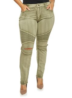 Plus Size Distressed Moto Jeans in Skinny Fit,OLIVE