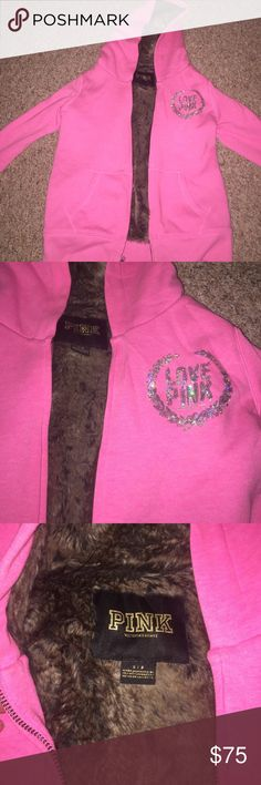 hot pink victorias secret sequin fur jacket brown and black faux fur. sequin logo. size small. only worn twice. perfect condition and color. hot pink. PINK Victoria's Secret Jackets & Coats