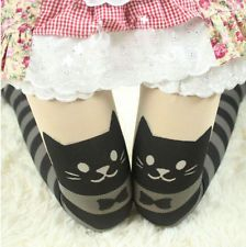 Japanese Black Striped Cat Tights mock stockings hold ups over knee socks sexy