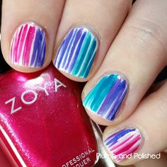 Plump and Polished: Summer's Not Over Yet Nail Art featuring Zoya Paradise Sun and Island Fun
