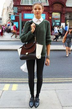 Shoes, bag & collared shirt- London Street Style