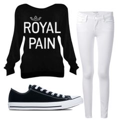 """""""Royal Pain"""" by kiki7122 ❤ liked on Polyvore featuring Frame Denim and Converse"""
