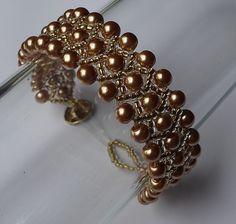 pearl and seed bead weaving bracelet cs-crafts pulseira de pérolas e miçangas de vidro